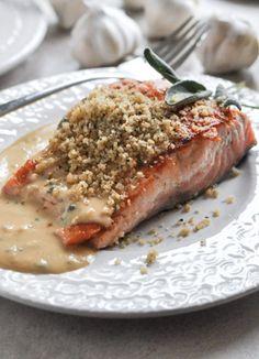 Pan-Crisped Salmon with Light Dijon Cream and Garlic Butter Breadcrumbs | howsweeteats.com