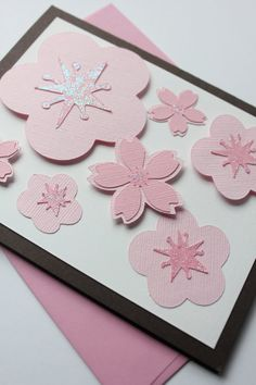 Japanese Cherry Blossom Card by CraftedbyLizC https://www.etsy.com/listing/101273840/just-because-japanese-cherry-blossoms