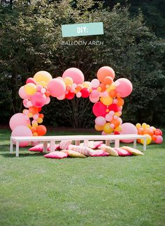 DIY Balloon Arch Tutorial  Read More: http://www.stylemepretty.com/living/2014/09/11/audreys-birthday-party/  Photography: Ruth Eileen - rutheileenphotography.com