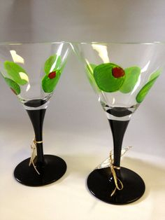 Hand Painted Martini Glasses, Custom Personalized Martini Glass, Bridal Glasses