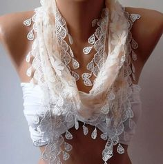 Elegance  Shawl // Scarf with Lacy Edge by womann on Etsy,