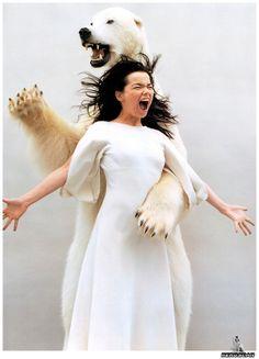 Björk music, spirit guides, polar bears, bjork, self portraits, animal totems, wild women, björk, bear hugs