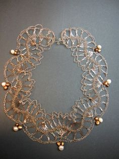 Handmade Crochet wire lace necklace with freshwater pearls metal color $74