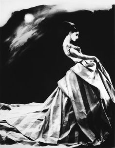 Title: Night Bloom, Givenchy by John Galliano, NYT Magazine  Artist: Lillian Bassman (1917, American)  Year: 1996