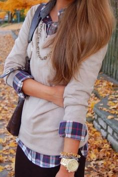 blue plaid button up + light gray sweater or cardigan