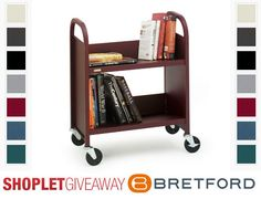 Shoplet.com is giving away a Bretford book cart. Here's how to win: Follow Shoplet on Pinterest, repin this post, go to the Shoplet Blog before 2/25/13 and tell us where you would use your book cart. #giveaways