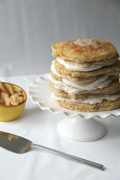 Stacked Cinnamon Sugar pancakes that taste like churros!