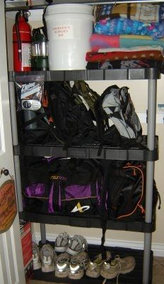 FAMILY EMERGENCY BUCKET - A 5 gal bucket w/lid (can be used as seat, or toilet), First Aid Kit, Flashlight with 4 D batteries in a Ziploc, Portable Radio with 6 AA batteries in a Ziploc, 40 Coleman Waterproof matches, 50 Potable Aqua Water purification tablets, Can opener, Winchester 12-Function Army Knife, Rope, coil of 50 ft., Duct tape, Work gloves, 3 - large trash bags  3 - 13 gal. plastic garbage bags (line the bucket for a toilet), wick chafing fuel, Map of city and vicinity http://p