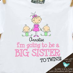 Big sister shirt Big sister to be TO TWINS pregnancy by zoeysattic, $16.50