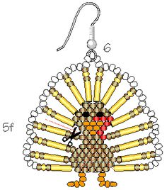 Thanksgiving Turkey Earrings - (OBG - a continuing favorite of mine!)  #seed #bead #tutorial