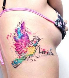bird tattoos, thigh tattoo watercolor, watercolor tattoos, hummingbird, thigh tattoo bird, bird thigh tattoo, art tattoos, watercolor tattoo quote, watercolor thigh tattoo