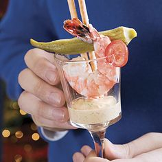 Southern Shrimp Cocktails | Have the seafood market steam shrimp to save time, or follow our easy instructions in the recipe. Serve the shrimp, okra, and breadsticks on a platter around a bowl of the sauce, or make individual cocktails. Use 4-oz. votive candleholders, shot glasses, cordial glasses, or mini-martini glasses.