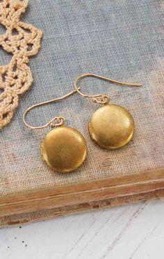 Tiny LOCKET EARRINGS Gold Round Mini Photo