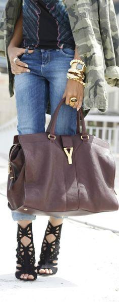 shoes, handbag, camo, purs, yves saint laurent, fashion styles, accessori, outfit, big bags
