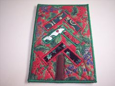 Quilted Fabric Postcard  Christmas Fabric Postcard by Fiberartplus, $8.00