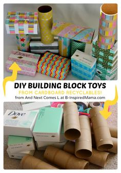Simple DIY Toys for Kids - Building Blocks from Recyclables at B-Inspired Mama #kids #diy #earthday #recycling #binspiredmama #kbn