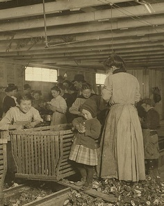 ::::::::: Antique Photographs ::::::::  Four-year-old Mary shucks two pots of oysters a day at Dunbar. She also tends the baby when she's not working!  The boss said that next year Mary will work steady as the rest of them. The mother is the fastest shucker in the place. Earns 1.50 a day. Works part of the time with her sick baby in her arms. Father works on the dock. Location: Dunbar, Louisiana. 1911