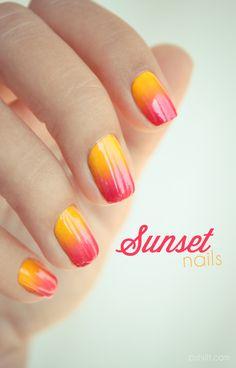 Sunset nails // summer nails