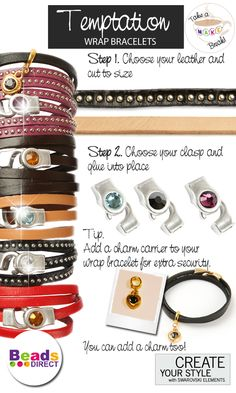 DIY Leather wrap bracelets. Make genuine leather wrap bracelet in under 5 minutes! To see more designs like this visit Beads Direct online http://www.beadsdirect.co.uk/gallery/detail/temptation-black-stud-bracelet/