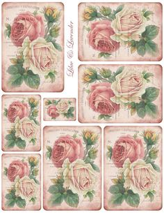 Free Printable Vintage French Pastel Rose Tags