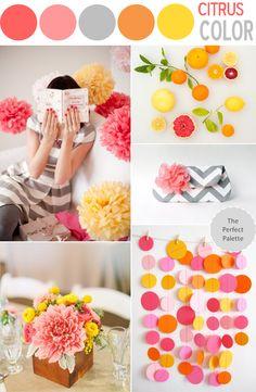 Citrus color pallet = wedding color scheme