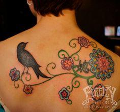 bird and flowers tattoo Dina verplank firefly tattoo