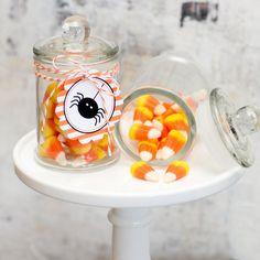 mini glass jars filled with candy corn! shoptomkat.com