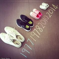 Great baby announcement pic, with tiny baby trainers and the year of birth for the little one to come!