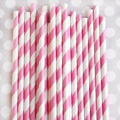Striped Paper Straws: Bubblegum Pink