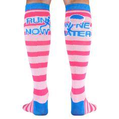 Yakety Yak! Knee Socks - Run Now Wine Later (Pink Stripes/Teal) | Running Knee Socks