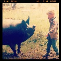 A very young Tom and his first much loved Pig.