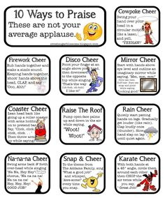 Whole Brain Teaching: 10-Finger Woo! Alternatives. You can cheer for classes who return all their books or accomplish other goals.