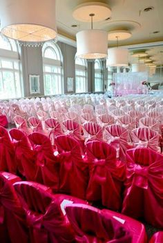 Ombre pink chair covers - stunning!