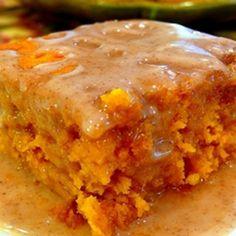 2 Ingredient Pumpkin Cake with Cider Glaze