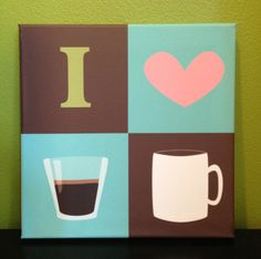 {Kitchen canvas art - I heart coffee #Etsy} So cute!