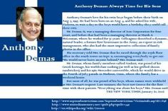 Anthony Demas- 61, was a managing director at Aon Corp @ WTC. Anthony and his wife were expecting twin sons and it was his birthday, he asked his wife if she couldn't hold off another day, so that the twins could have a birthday to themselves, which ultimately happened. He was proud of his Greek heritage. I found some information at http://www.voicesofseptember11.org/dev/memorial_content.php?idbio=816849198&idcontent=679372064. #911 #project2996