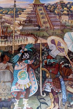 Diego Rivera mural in the National Palace, Mexico City  		Mural of The Jaguar People in Veracruz
