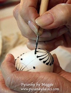 """Melted bees wax is applied with a stylus for the Lemko style pysanky A note on pronunciation, despite what you may have heard on television, a supplier of pysanky tools or from an instructor in a local class, """"Pysanka"""" is correctly pronounced """"Pih-sahn-kah"""" with the plural """"Pih-sahn-kih"""". All with short vowels. The term """"pysanky"""" is not, never was, nor will it ever be correctly pronounced """"pie-SAN-kee or pizz-an-ki"""""""