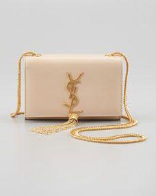 Cassandre Small Tassel Crossbody Bag, Off White