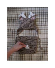 Crochet Deer Hat and Deer Diaper Cover Optional Bow by BonsEnfants, $38.00