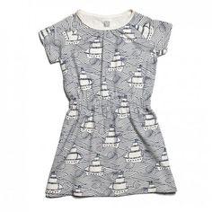 Organic Cotton Domino Dress with High Seas Print / Winter Water Factory Girls