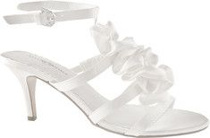 Center ruffle for the fashionable bride, this is an elegant 2  heel with adjustable ankle strap and leather sole.