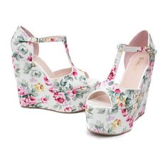 T belt Wedding women shoes new arrival 2013 vintage print the flower wedges sandals big size princess high heeled shoes t shoes-inSandals from Shoes on Aliexpress.com found on Polyvore