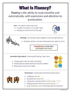 FREE student fluency reference sheet for all grade-levels! :)
