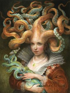 From the MU art collection & gallery - Omar Rayyan, Contessa with Squid, 2011, oil on panel, 18x24