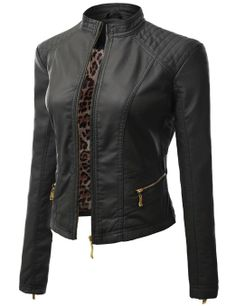 Doublju Motocycle Rider Faux Leather Jacket BLACK (US-M)