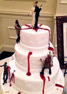Zombie Halloween Wedding Cake