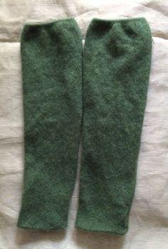 Green cashmere leggings for children , upcycled children clothing legwawmer soft