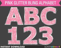 50% Off Sale  Digital Alphabet Pink Sparkly Bling Glitter Letters Commercial Use Clip Art Instant Download. $2.48, via Etsy.
