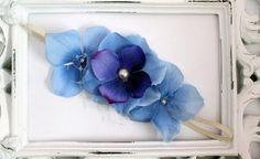 Baby girl headband: Blue Flowers with Beads www.thebump.com